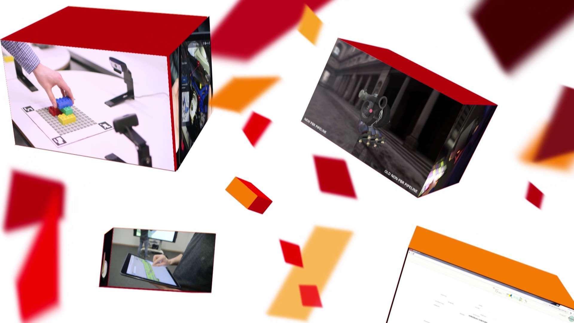 Mehrere farbige Boxen die Bildausschnitten aus einem Erklärfilm für das Fraunhofer-Institut zeigen