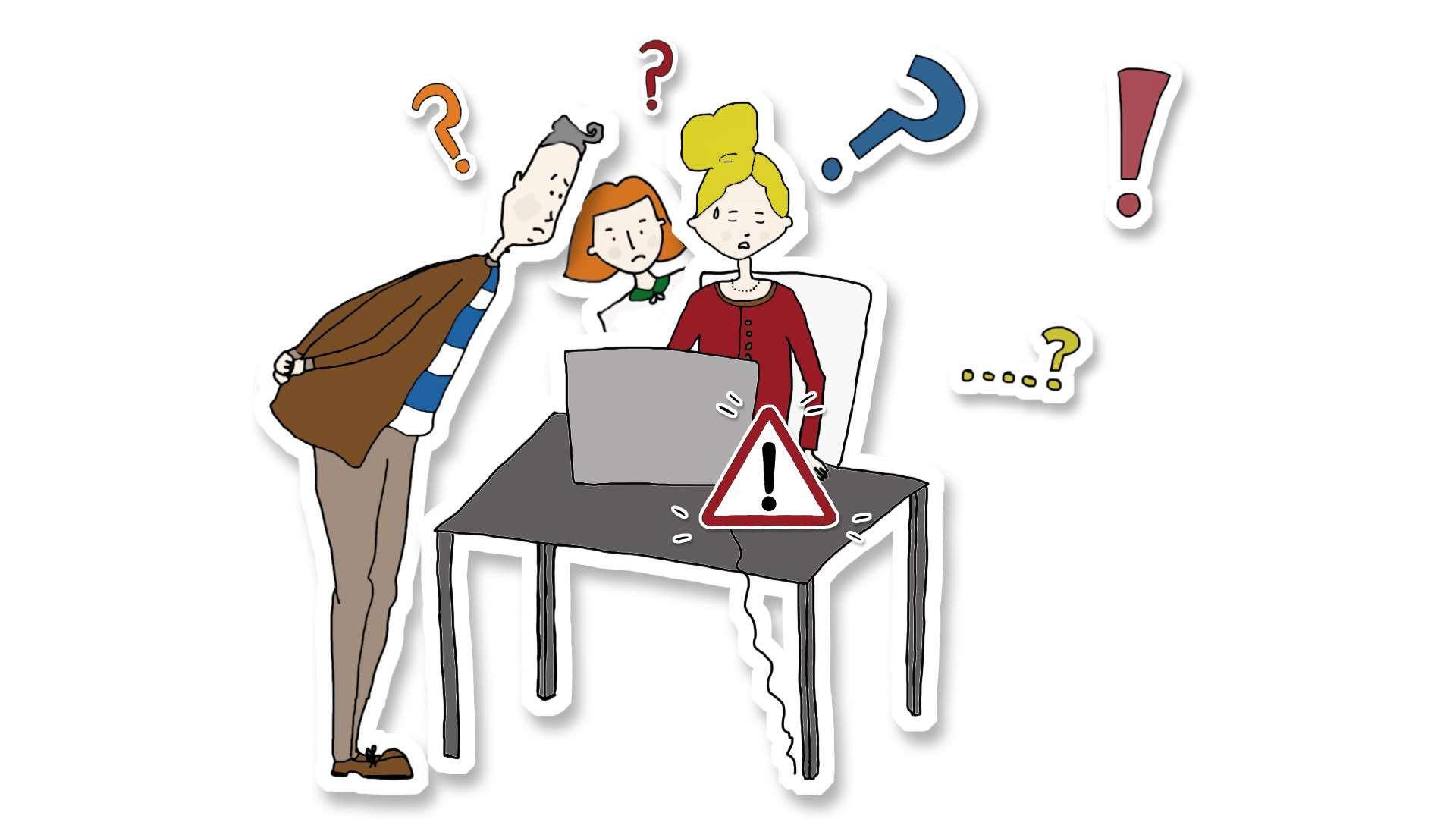 Zeichnung von drei Personen die überfragt auf einen Laptop schauen