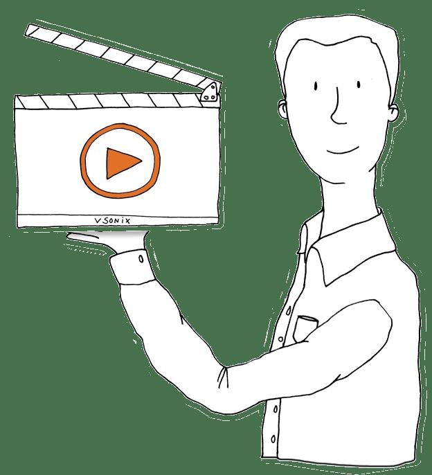 Eine Zeichnung von einem vsonix-Mitarbeiter der eine Filmklappe mit dem vsonix-Logo hält